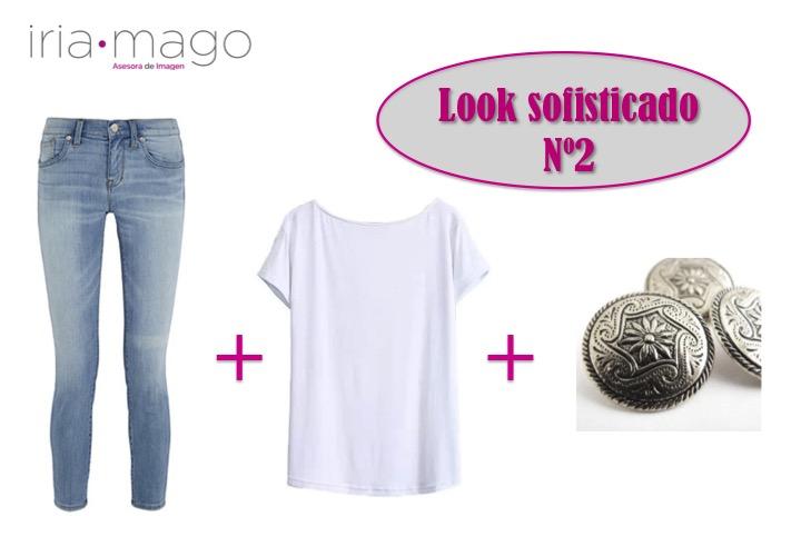 jeans camiseta blanca adornos